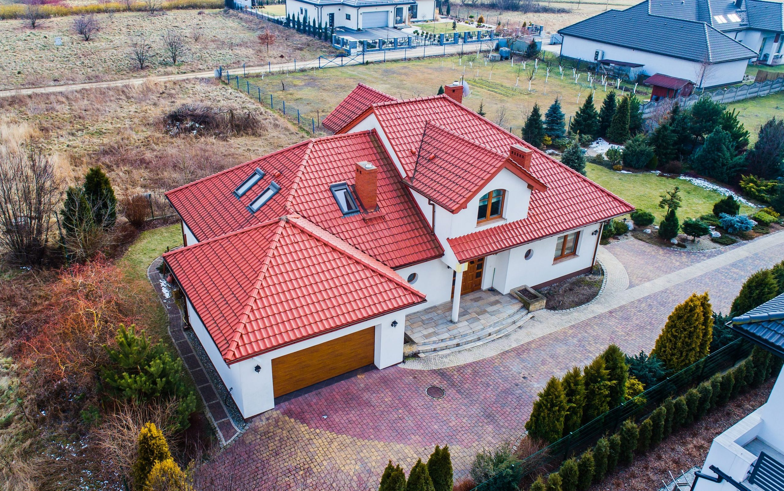 Aerial drone view on single family house in Poland